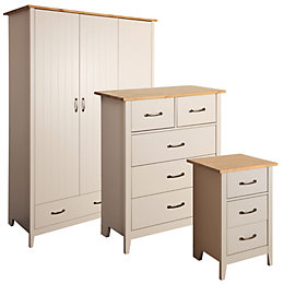 Westwick Putty Grey & Oak Effect Triple Wardrobe
