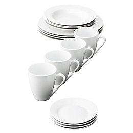Aida Café White Dinnerware, Set of 16