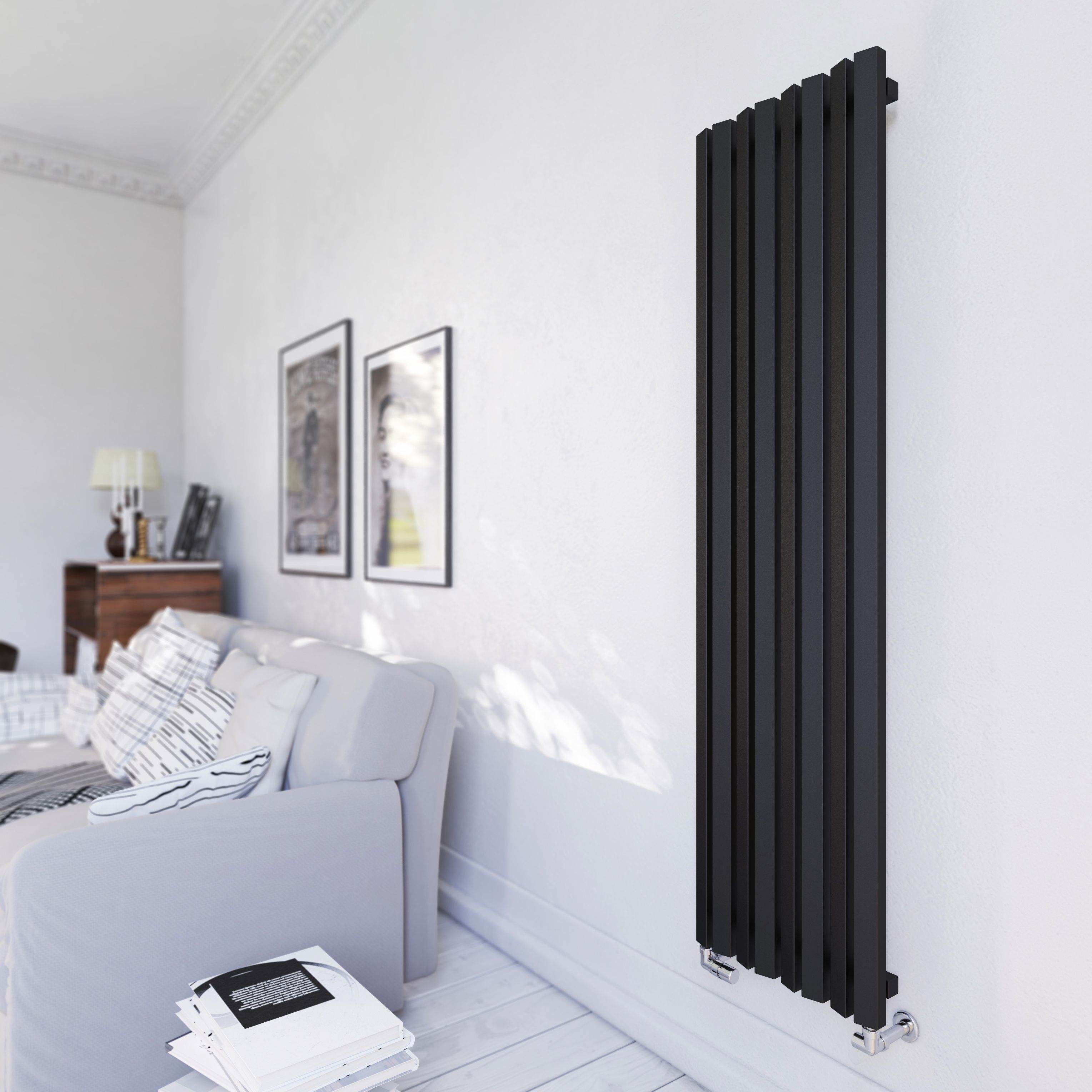Terma Durham Vertical Radiator Metallic Black Textured (H)1600 Mm (W)425