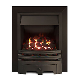 Westerly Black Inset Open Fronted Full Depth Gas