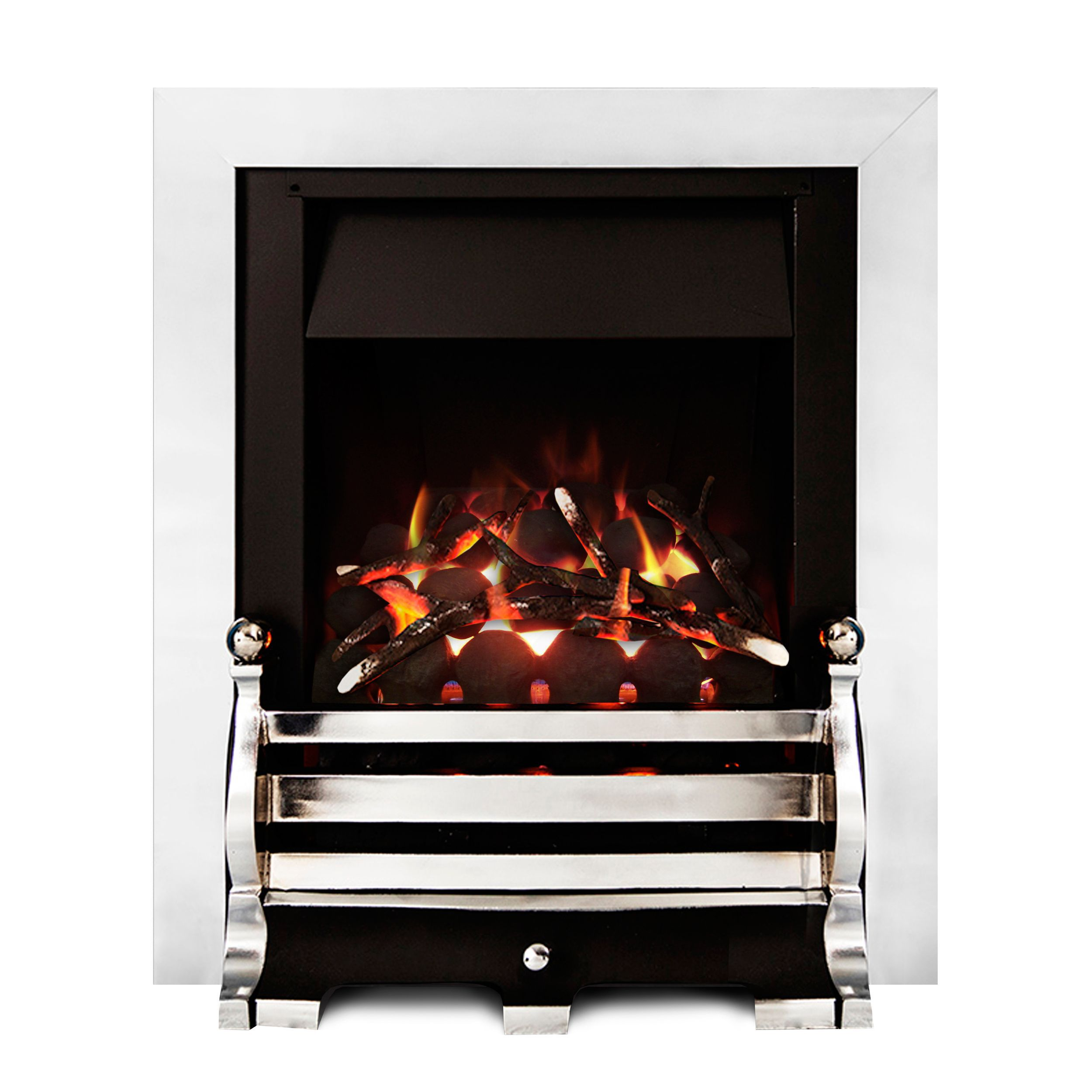 ignite fairfield open fronted full depth chrome effect inset gas