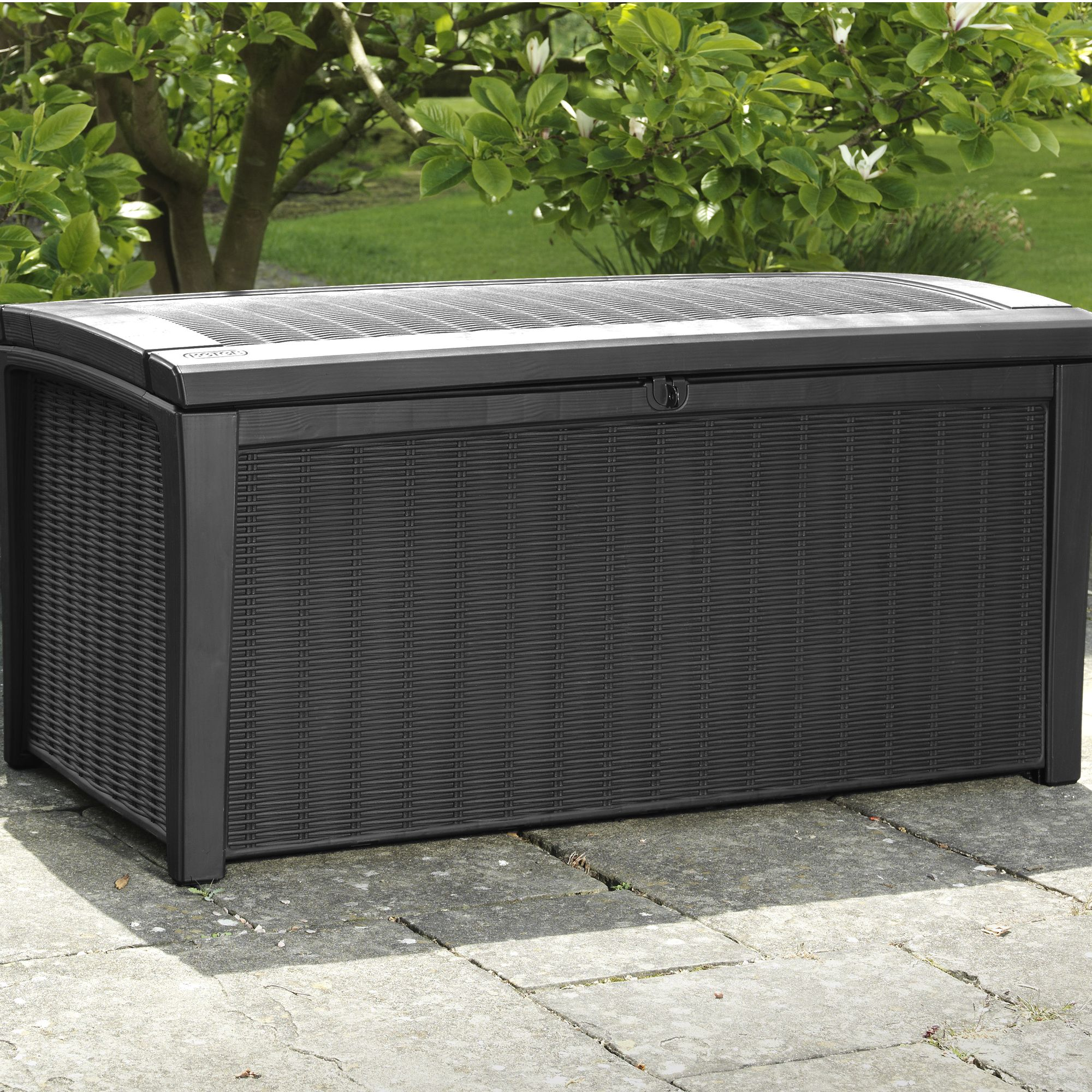 Borneo Rattan Effect Plastic Garden Storage Box   Departments   DIY at B Q. Borneo Rattan Effect Plastic Garden Storage Box   Departments