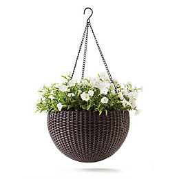 Keter Rattan-Effect Anthracite Hanging Planter 14 ""