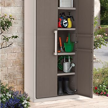 Optima Tall Resin Plastic Garden Storage Cabinet