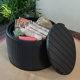 Elsa Resin Rattan Effect Plastic Garden Storage Box
