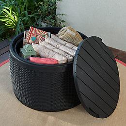 Elsa Resin Rattan Effect Plastic Garden Storage Box