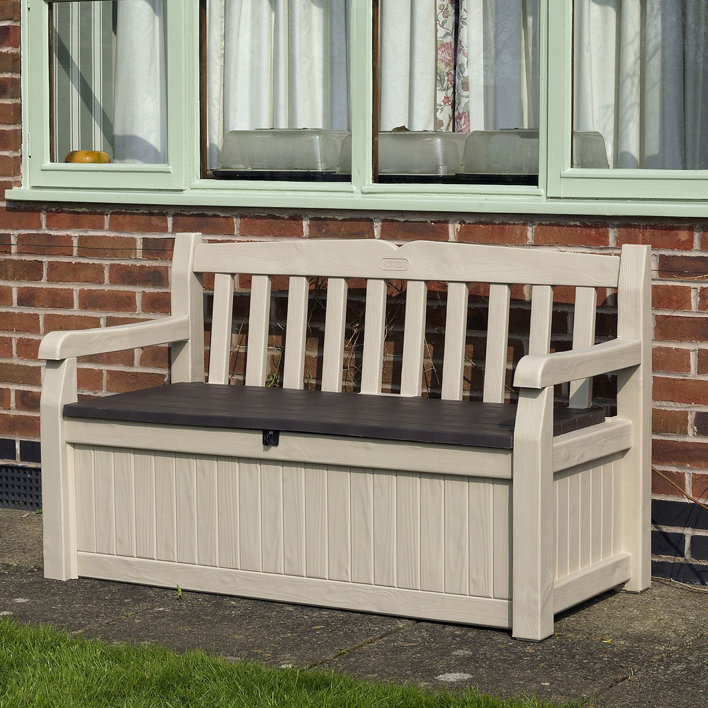 Wood effect plastic garden bench storage box for Outdoor plastic bench seats