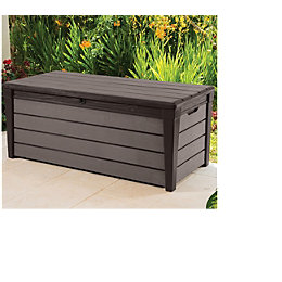 Brushwood Plastic Wood Effect Garden Storage Box 454L