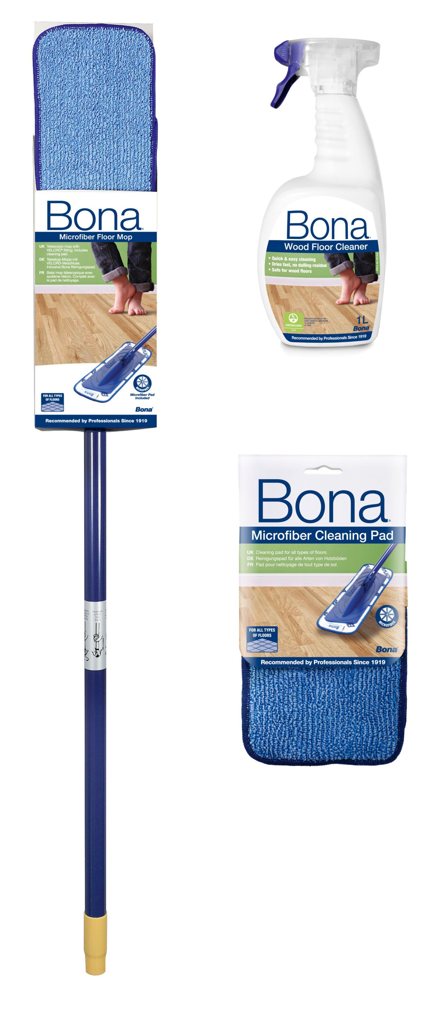 bona wood floor mop cleaning kit departments diy at b q. Black Bedroom Furniture Sets. Home Design Ideas