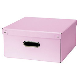 Pink Recycled Fibreboard Half Office Storage Box