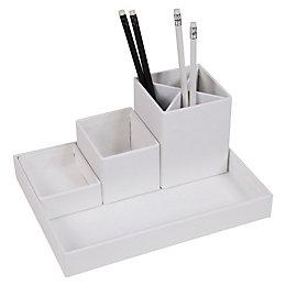 White Cardboard Desk & Pen Organiser Set