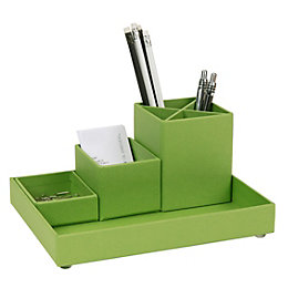 Green Cardboard Desk & Pen Organiser Set