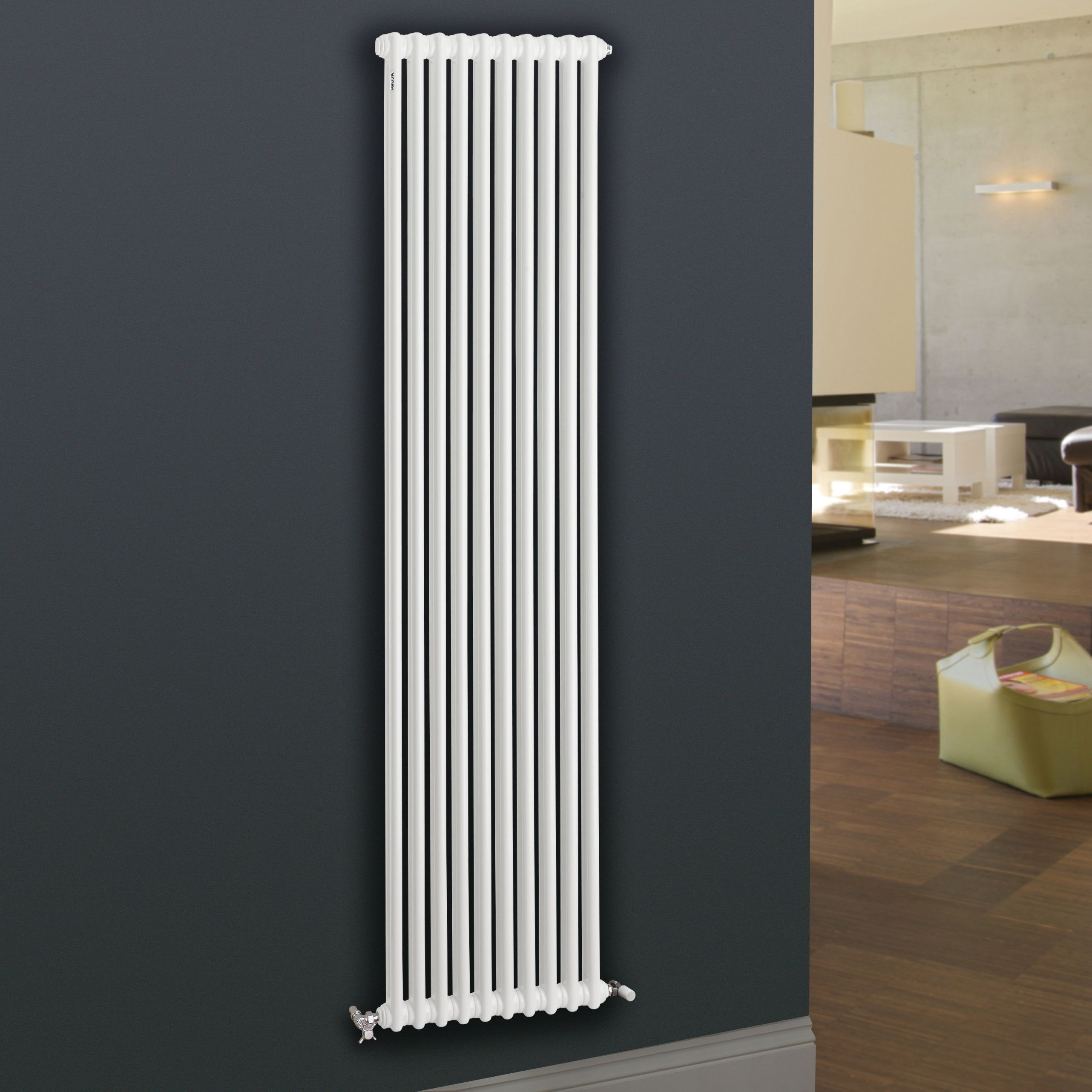 acova 2 column radiator white w 490mm h 2000mm departments diy at b q. Black Bedroom Furniture Sets. Home Design Ideas