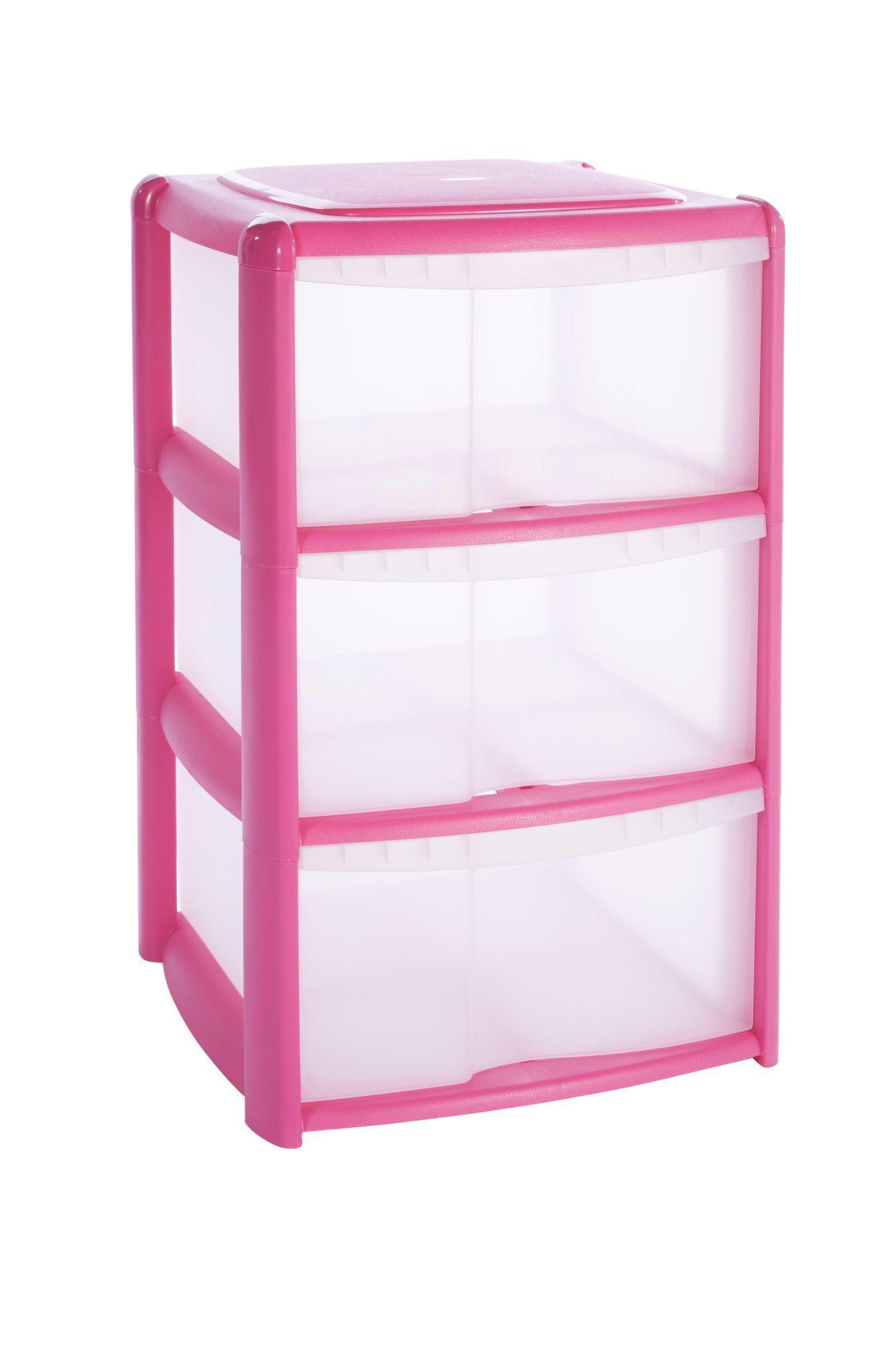 B&q Pink Plastic Drawer Tower Unit