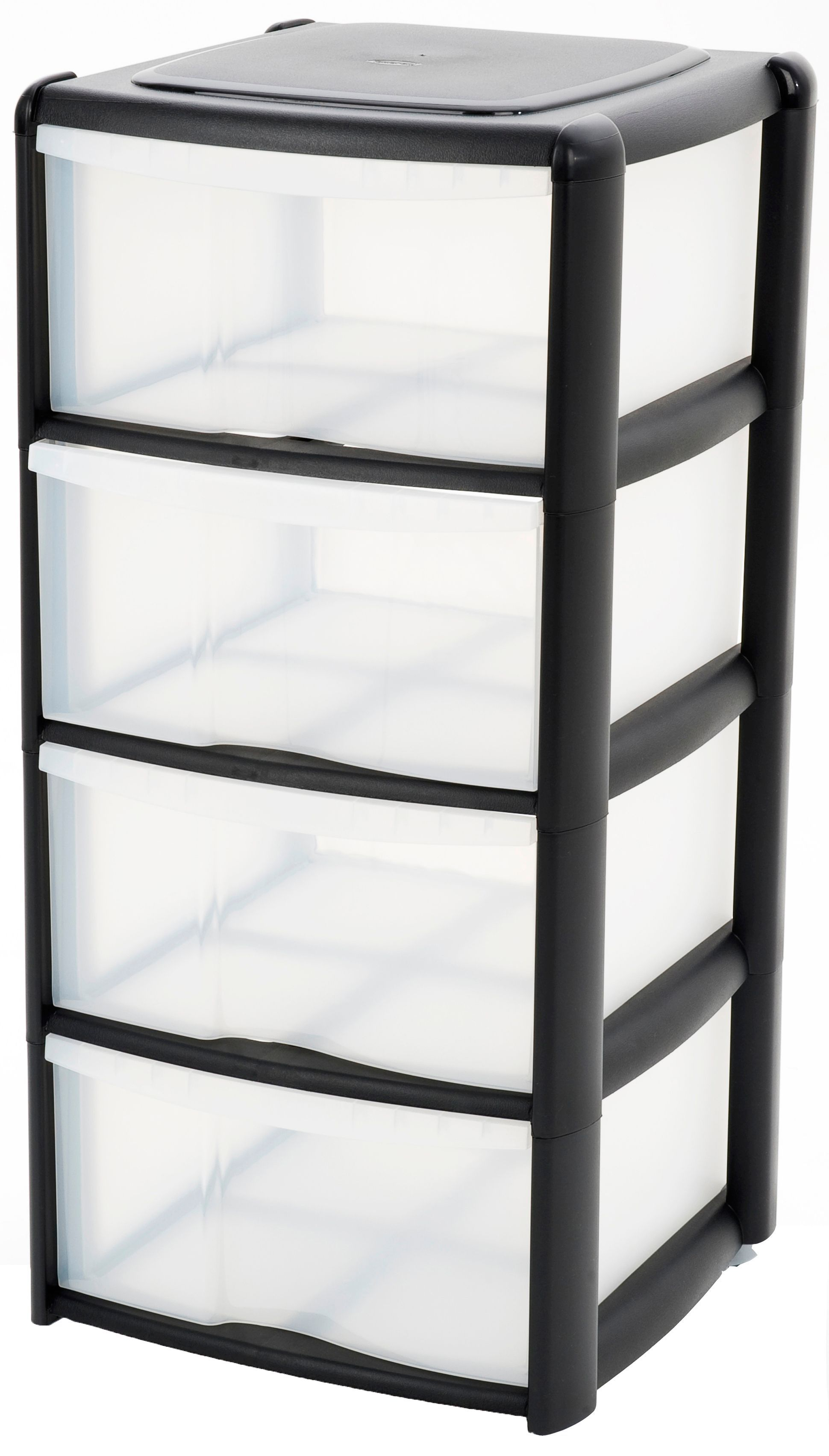 B&q Black & Clear Plastic Drawer Tower Unit