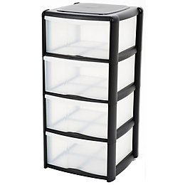 B&Q Black & Clear Plastic 4 Drawer Tower