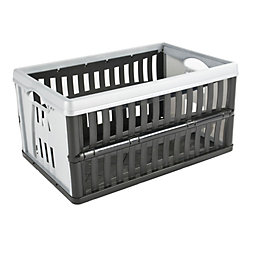 Tontarelli Black & Grey 60L Plastic Folding Crate