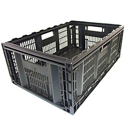 Black 46L Plastic Storage Crate