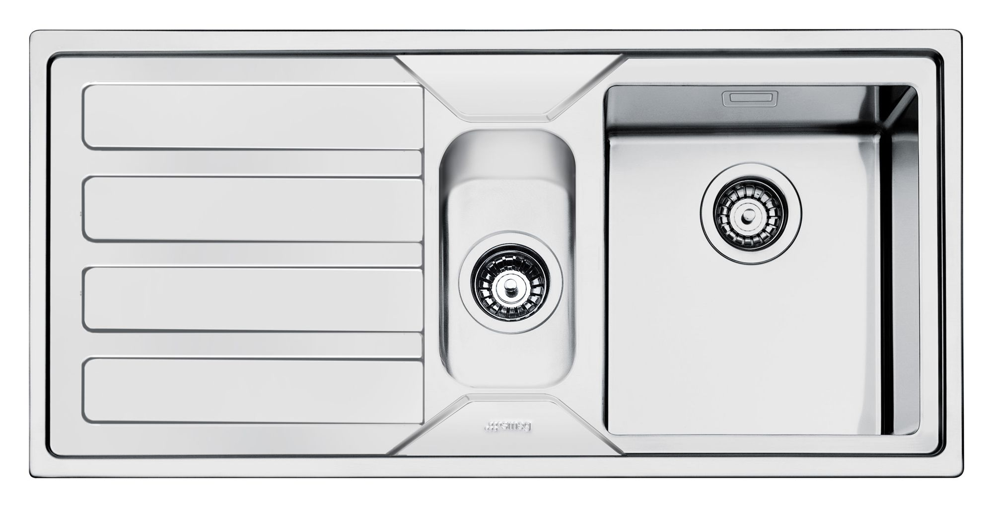 Smeg Mira 1.5 Bowl Polished Stainless Steel Sink & LH Drainer