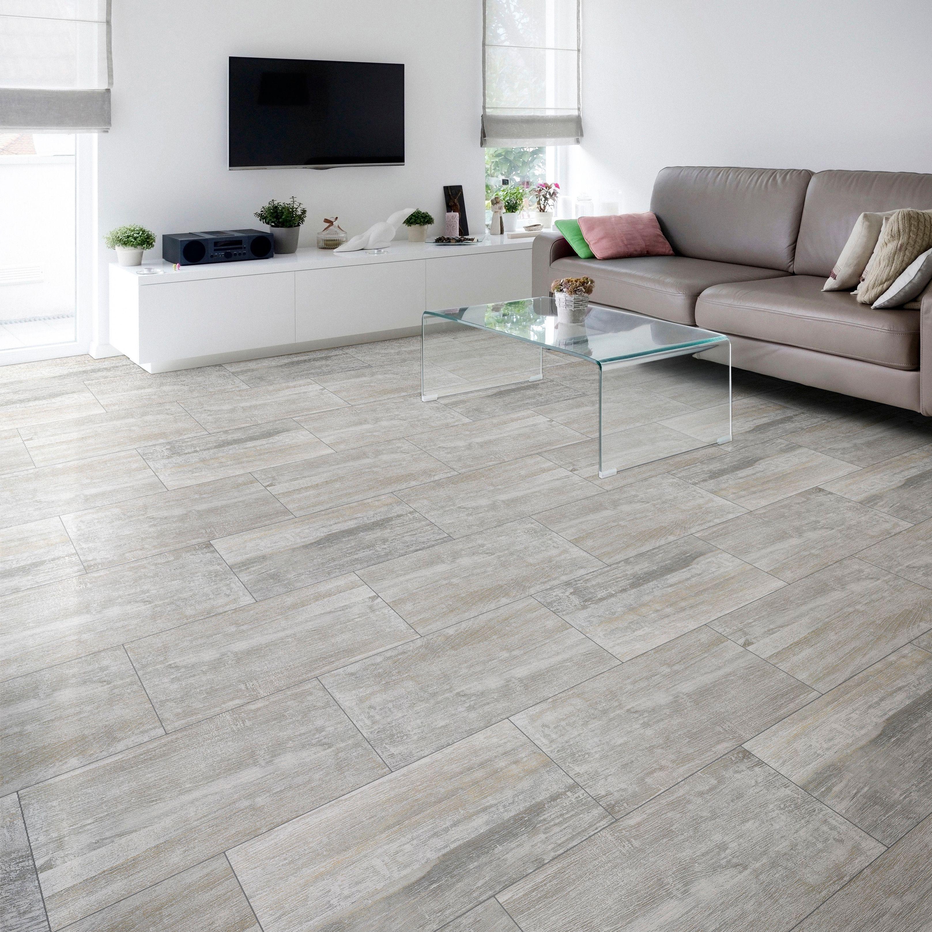 Nordico Grey Vintage Porcelain Floor Tile, Pack of 8, (L)618mm (W)310mm