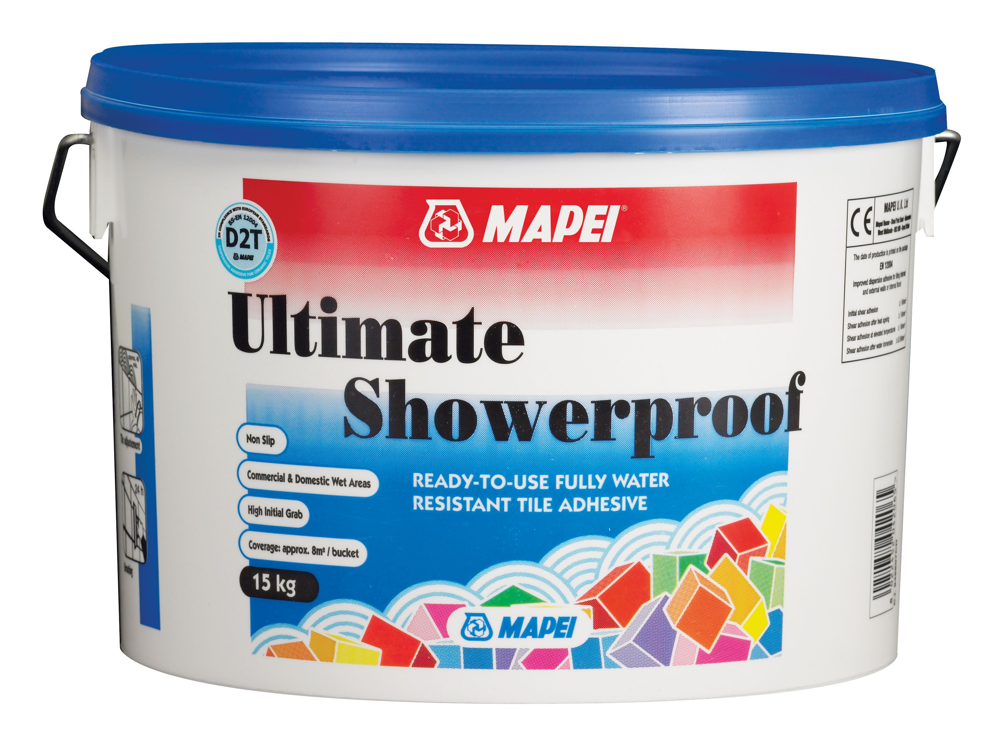 Mapei Ultimate Shower Proof Ready to Use Wall Tile Adhesive 15kg ...