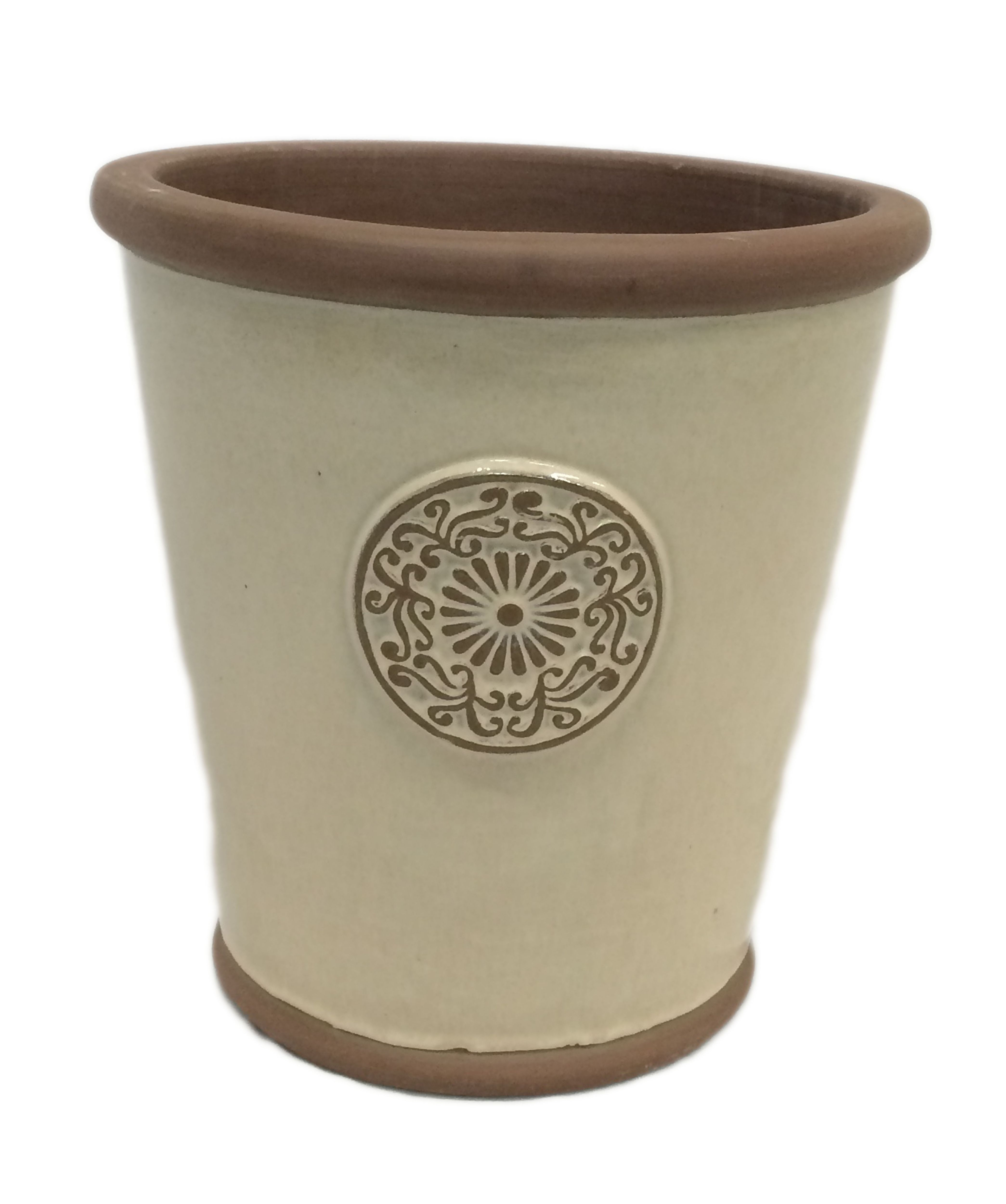 Motif Round Glazed Clay Cream Smooth Plant Pot Dia 25cm Departments