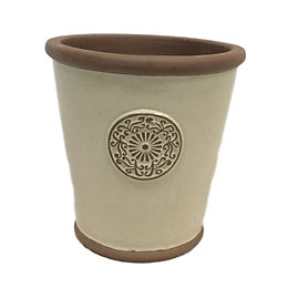 Motif Round Glazed Clay Cream Smooth Plant Pot