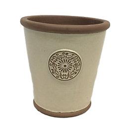 Motif Round Glazed Clay Cream Smooth Plant Pot