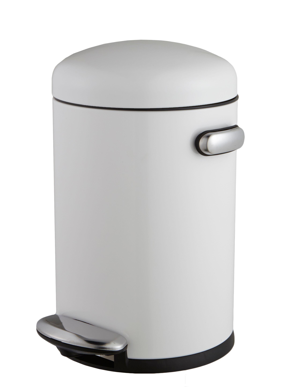 Simplehuman Retro Gloss Black Stainless Steel Round Bathroom Pedal Bin, 4.5l