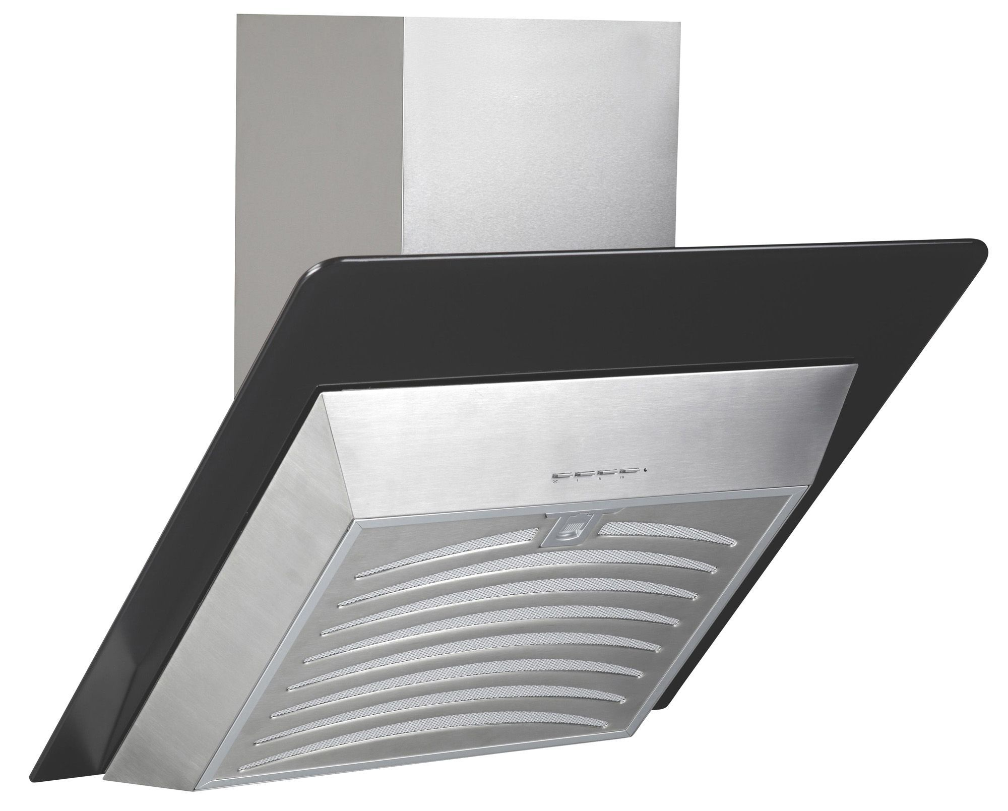 Angled Chimney Cooker Hood Stainless Steel Black Glass Mm