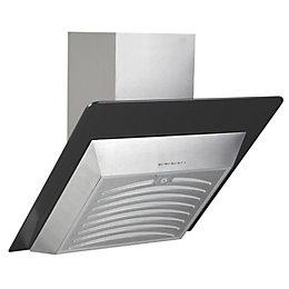 Designair AGS60BK Angled Glass Silver Effect Cooker Hood,