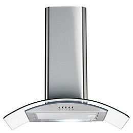 Cata CGK60SS Stainless Steel Curved Glass Cooker Hood,
