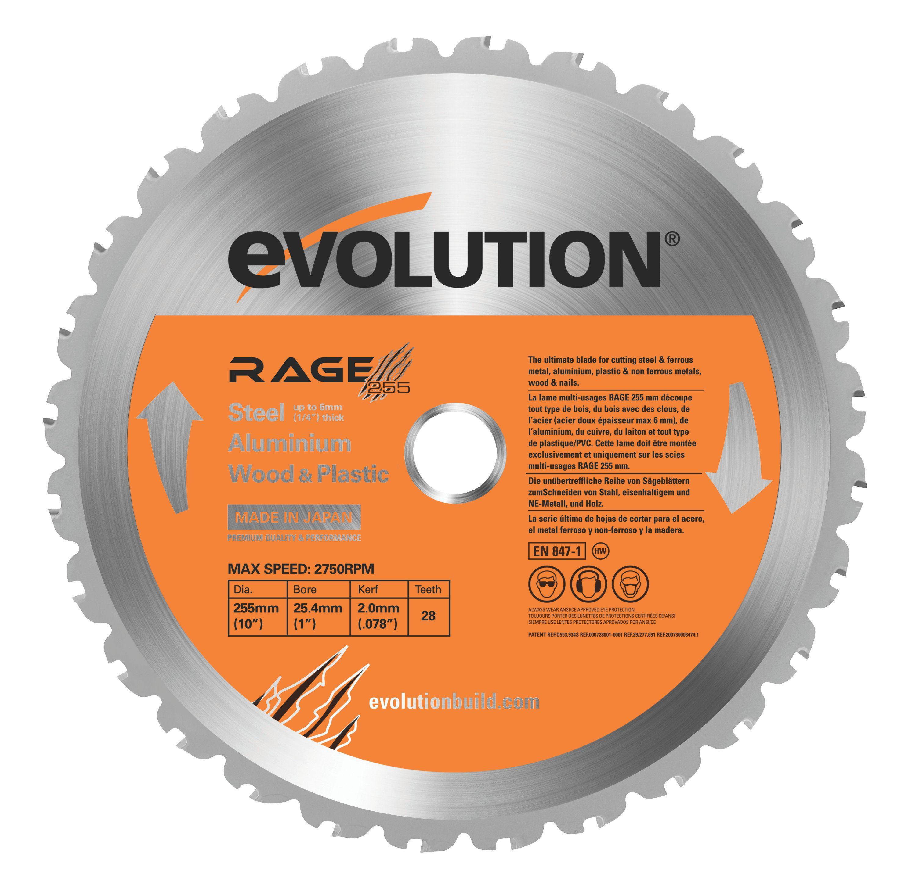 Evolution Rage 28t Circular Saw Blade (dia)255mm