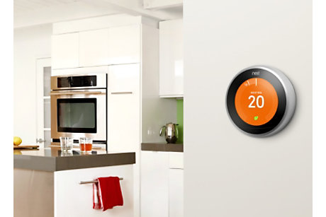 Intelligent thermostat in kitchen