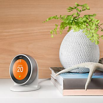 Smart thermostat on a hall table
