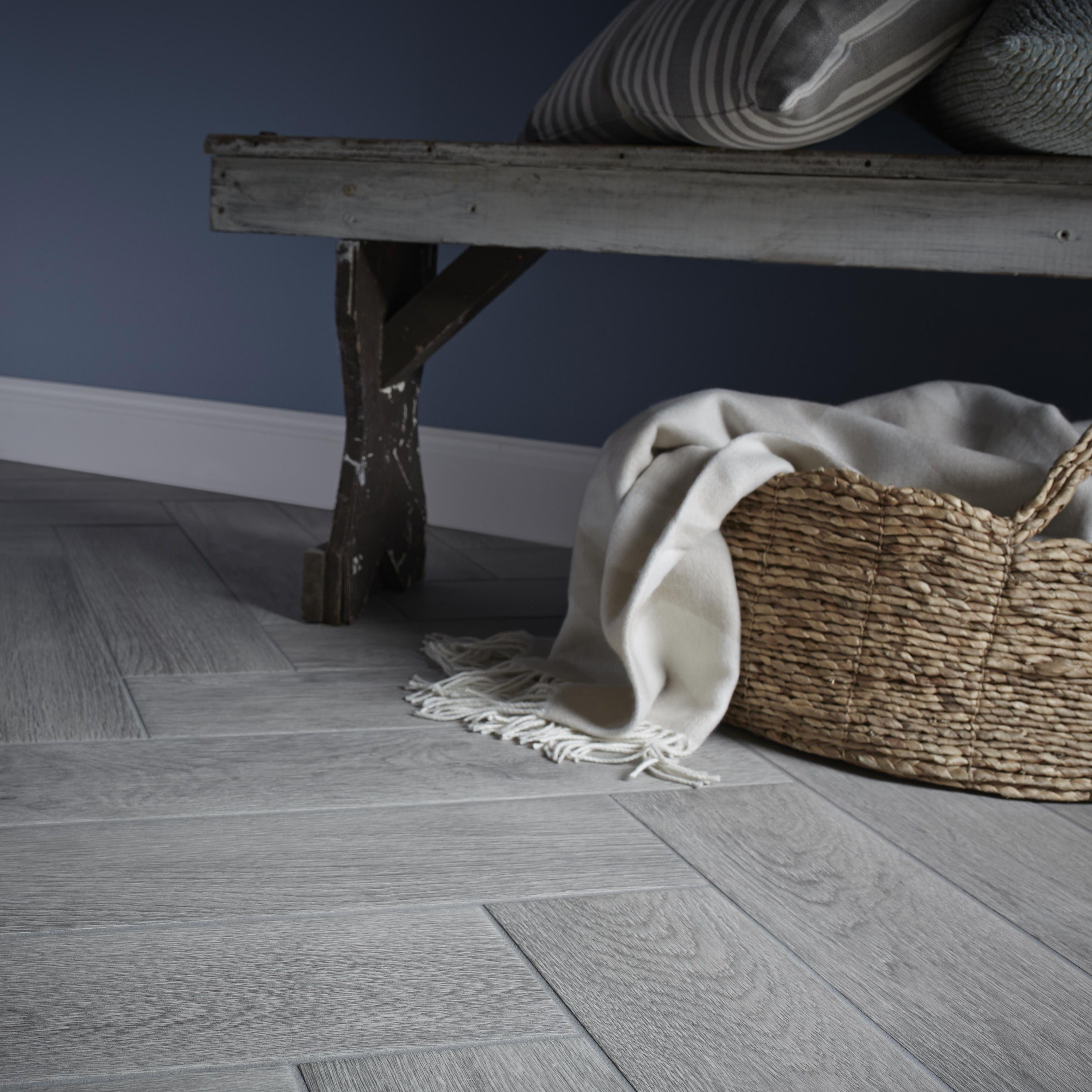 Albero Grey Porcelain Wall & Floor Tile, Pack of 11, (L)600mm (W)150mm