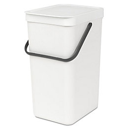 Brabantia White Plastic Rectangular Recycling Bin, 16L