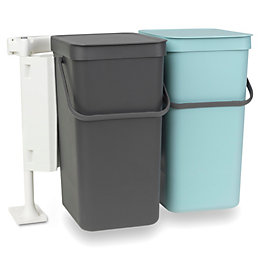 Brabantia Built-In Mint & Grey Plastic Rectangular Waste