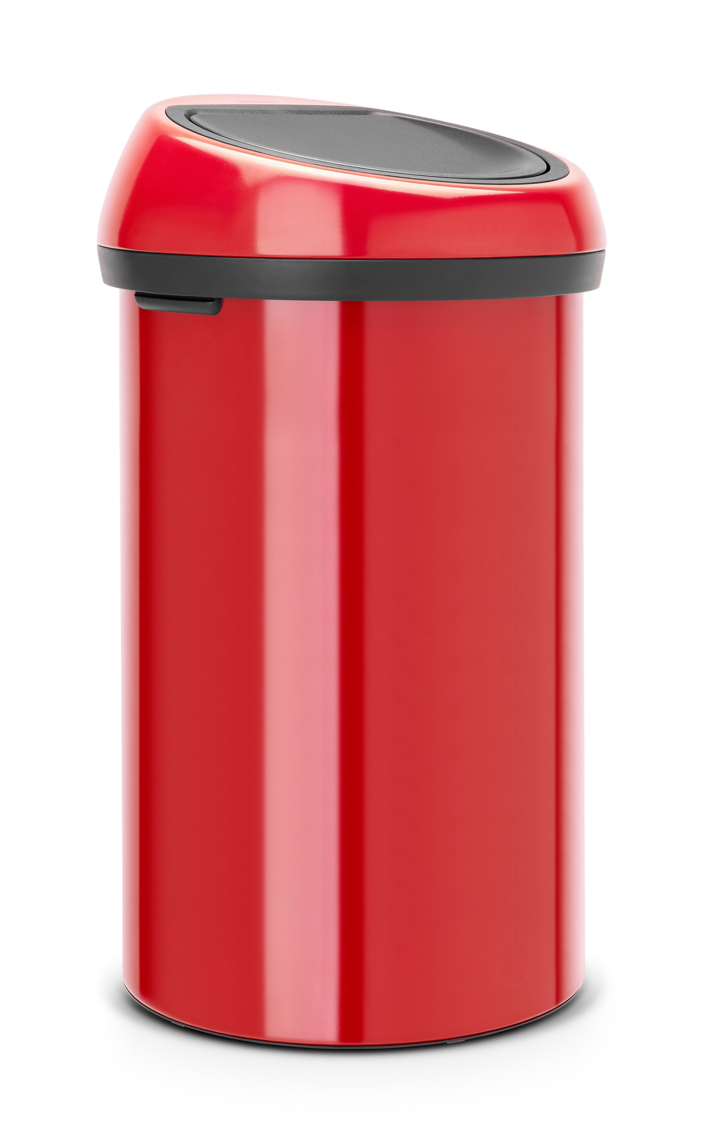 Brabantia Gloss Red Metal Round Touch Top Kitchen Bin, 60l