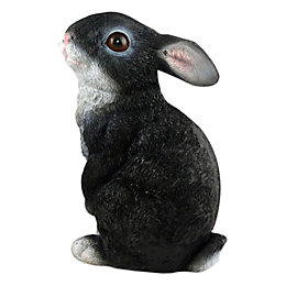 Black & White Sitting Rabbit Garden Ornament