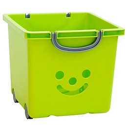 Children's Smiley Green 30.6L Plastic Storage Basket
