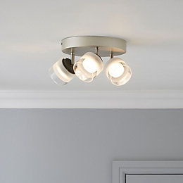 Fremont Nickel Effect 3 Lamp Ceiling Spotlight
