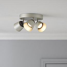 Dender County Nickel Effect 3 Lamp Ceiling Spotlight