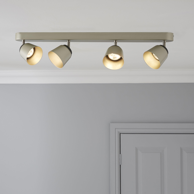 Kitchen Spot Lighting Ideas: Phillips Dendor County Nickle Effect 4 Lamp Ceiling