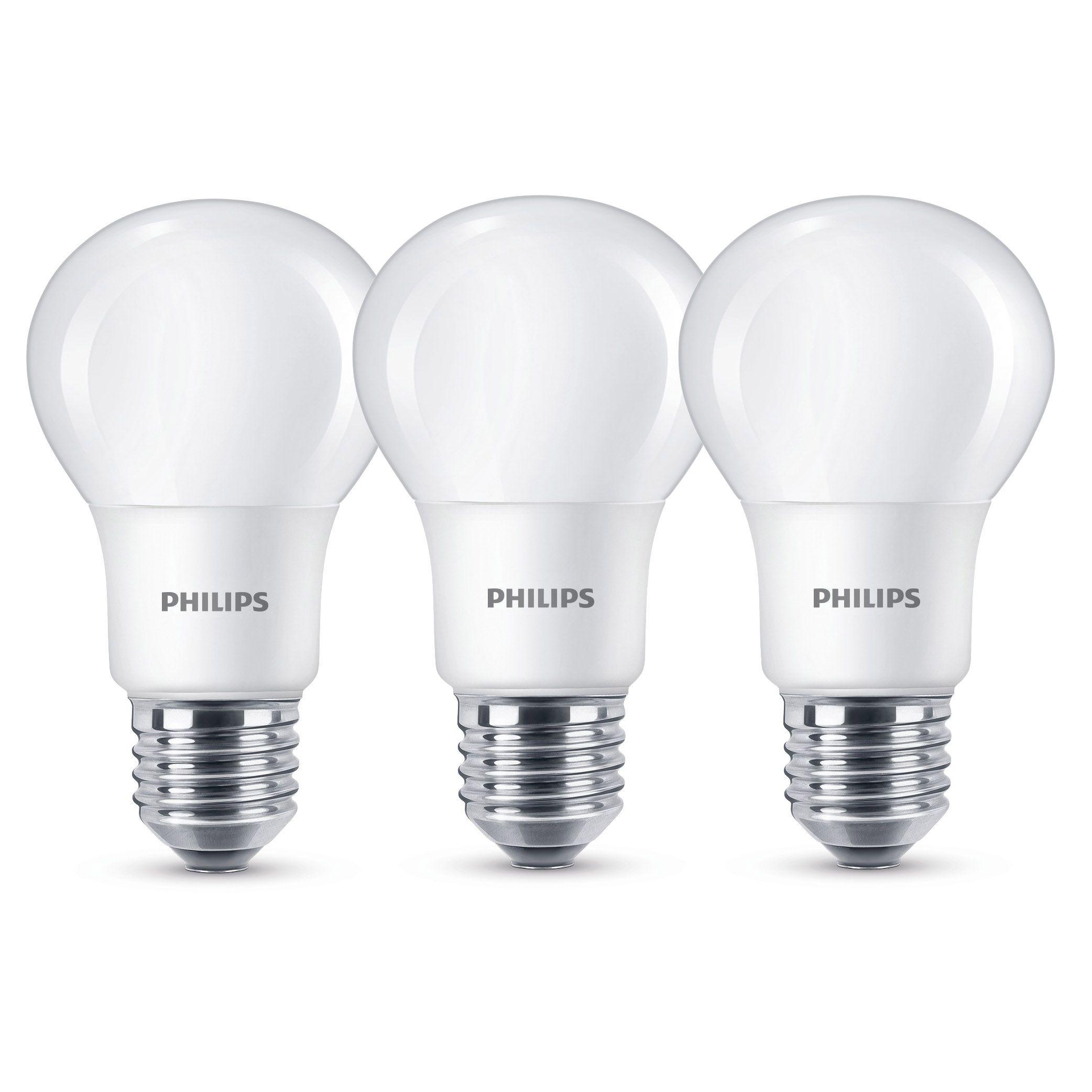 Philips E27 806lm Led Gls Light Bulb, Pack Of 3