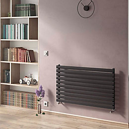 Ximax Horizontal Radiator Black Silver, (H)584 mm (W)1200