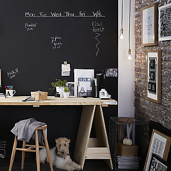 chalkboard paint wall in a home office space