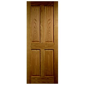 4 Panel Oak Veneer Internal Door, (H)1981mm (W)610mm