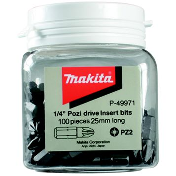 Makita #2 Pozidriv Bit 25mm Pack of 100