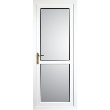 Mid Bar White PVCu Fully Glazed Back Door & Frame Lh, (H)2055mm (W)840mm
